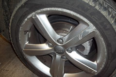 Alloy wheel before refurbishment